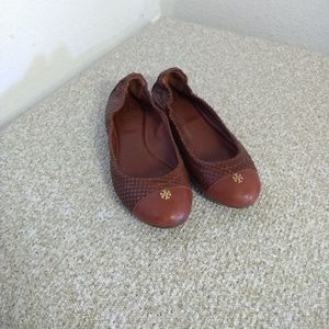 Tory Burch Brown Embossed Leather Flats